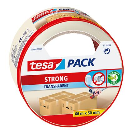 Ruban adhésif d'emballage Tesa 'Pack Strong' transparent PP 66 m x 50 mm