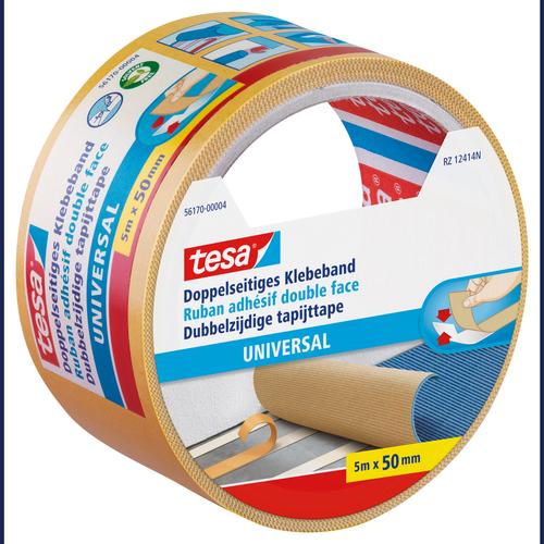 Bande double face tapis Tesa 'Universel' jaune 5mx50mm