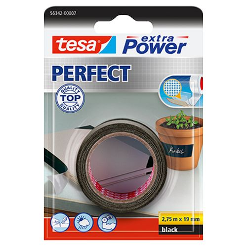 Tesa tape Extra Power 'Perfect' zwart 2,75 m x 19 mm