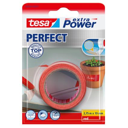 Ruban adhésif Extra Power Tesa 'Perfect' rouge 2,75 m x 19 mm