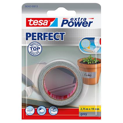 Ruban adhésif Extra Power Tesa 'Perfect' gris 2,75 m x 19 mm