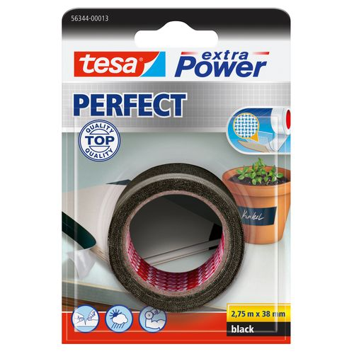 Tesa tape Extra Power 'Perfect' zwart 2,75 m x 38 mm