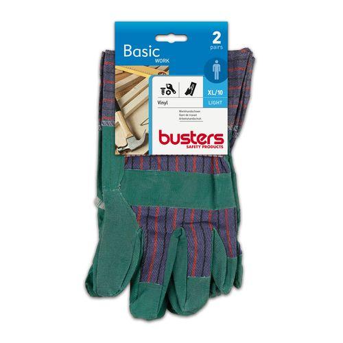 Busters handschoenen vinyl/katoen groen/blauw M10 – 2 paar