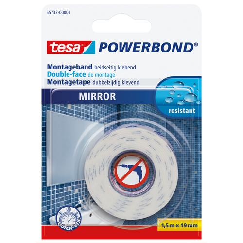 Ruban adhésif de montage miroirs Tesa 'Powerbond' blanc 1,5mx19mm