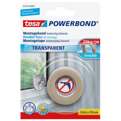 Ruban adhésif pour montage Tesa 'Powerbond' transparent 1,5mx19mm