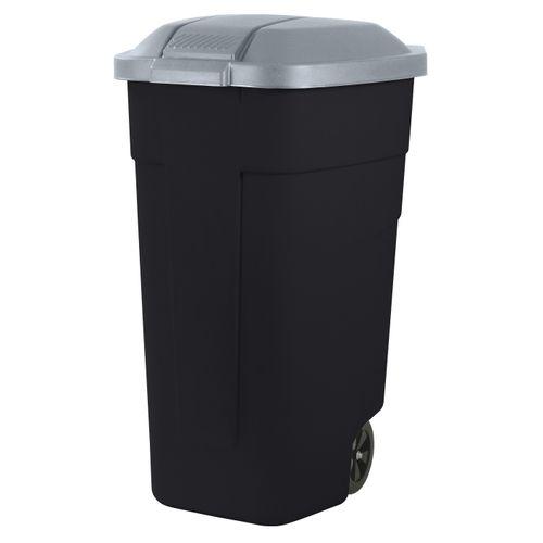 Keter mobiele afvalcontainer zwart steel 110L