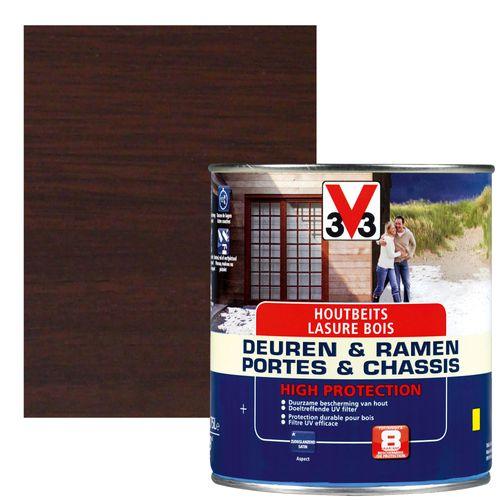 Houtbeits V33 Deuren & Ramen High Protection notelaar zijdeglans 750ml