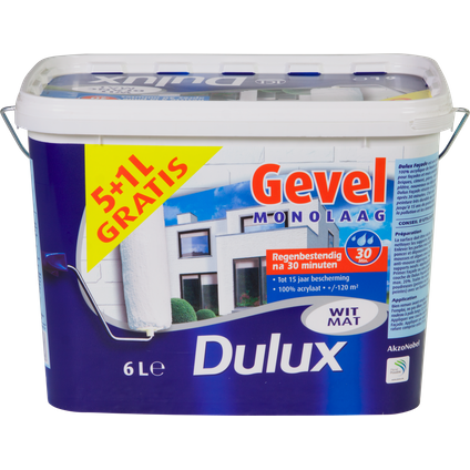 Peinture façade Dulux Monocouche blanc mat 5L + 1L gratuit