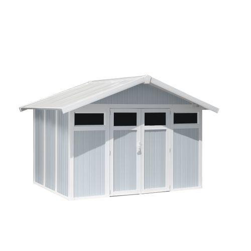 Grosfillex tuinhuis 'Utility 7,5' PVC grijs/blauw 7,04 m²