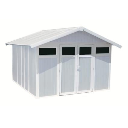 Grosfillex tuinhuis Utility 11 PVC grijs/blauw 10,6m²