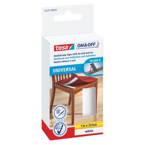 Velcro Tesa On & Off cousable 1mx20mm blanc