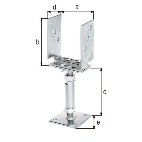 Ancre pour poteau en U acier galvanisé 71-161 mm