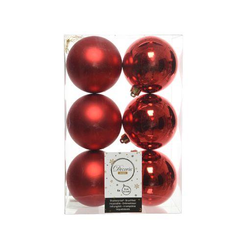 Boules de Noël Decoris plastique rouge 8cm 6pcs