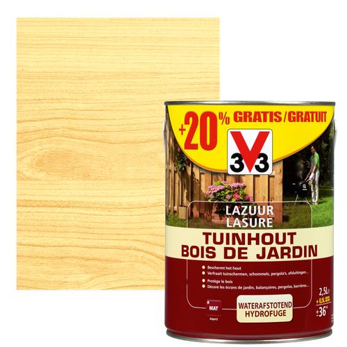 V33 houtbeits Tuinhout transparant mat 2,5L + 20%