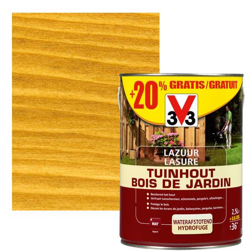 V33 houtbeits Tuinhout lichtbruin mat 2,5L + 20%