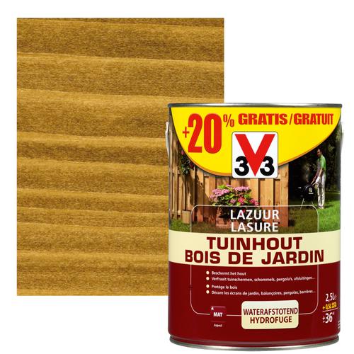 V33 houtbeits Tuinhout donkerbruin mat 2,5L + 20%