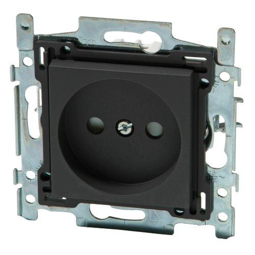 Niko stopcontact 21 mm 2P + aardpen 'Intense' antraciet