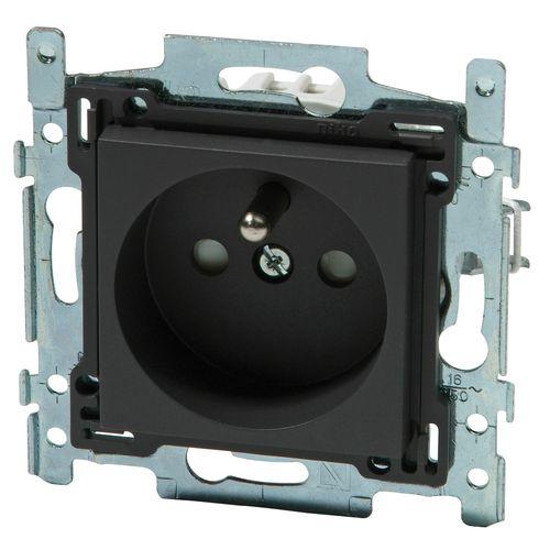 Niko stopcontact  28,5 mm 2P + aardpen 'Intense' antraciet