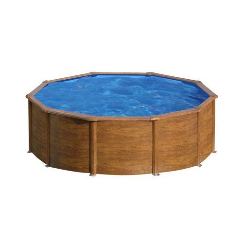 Gre pzetzwembad Pacific rond staal houtimitatie Ø480x122cm
