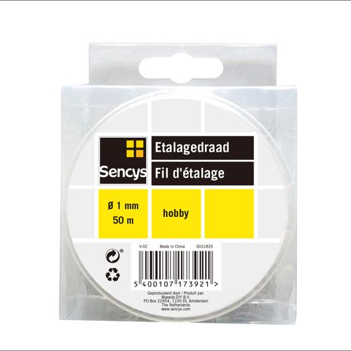 Sencys etalagedraad transparant nylon Ø 1 mm x 50 m