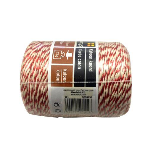 Sencys katoen touw rood en wit 0,8 mm x 100 m