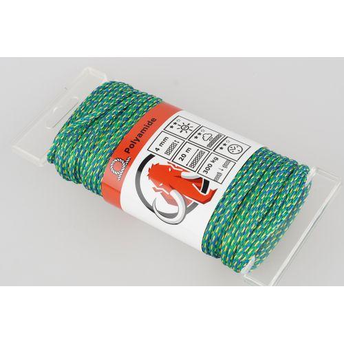 Corde Mamutec polyamide vert / bleu / jaune 4 mm x 20 m