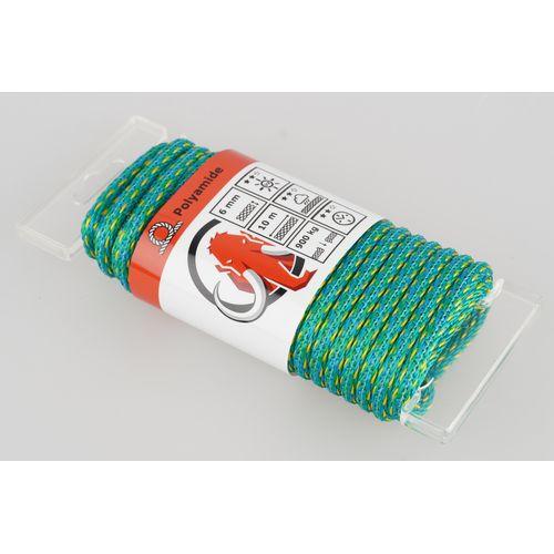 Corde Mamutec polyamide vert / bleu / jaune 6 mm x 10 m