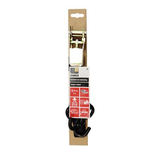 Sencys spanband PES zwart 25 mm x 5 m