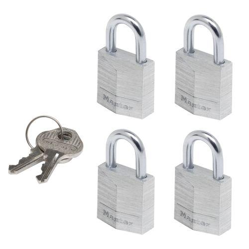 Master Lock hangslot met sleutel aluminium 11 x 20 mm - 4 stuks