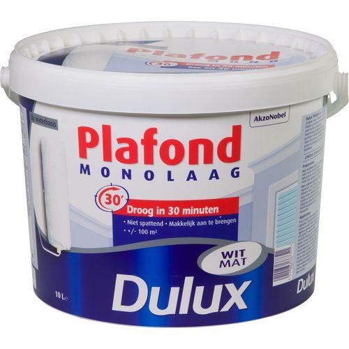 Dulux plafondverf Dulux Plafond monolaag wit 10L