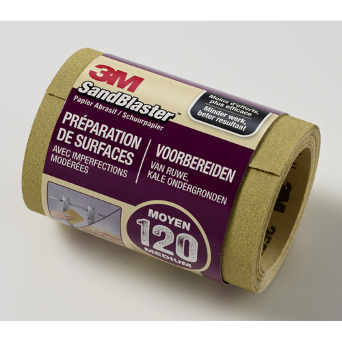 Rouleau de papier abrasif 3M 'SandBlaster' P120 mauve