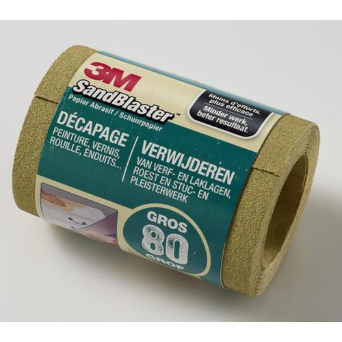 Rouleau de papier abrasif 3M 'SandBlaster' P80 vert