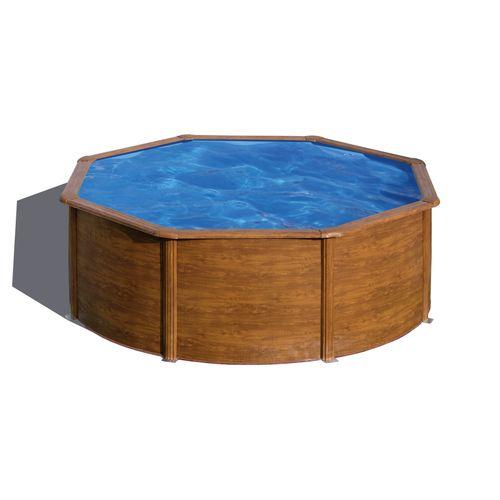 Gre opzetzwembad Pacific rond staal houtimitatie Ø370x122cm