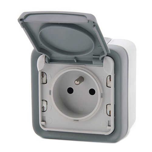 Legrand stopcontact spatwaterdicht grijs