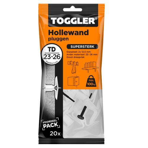 Toggler hollewandplug TD plaatdikte 23-26mm 20st.
