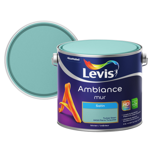 Levis muurverf 'Ambiance' satijn turkoois 2,5L