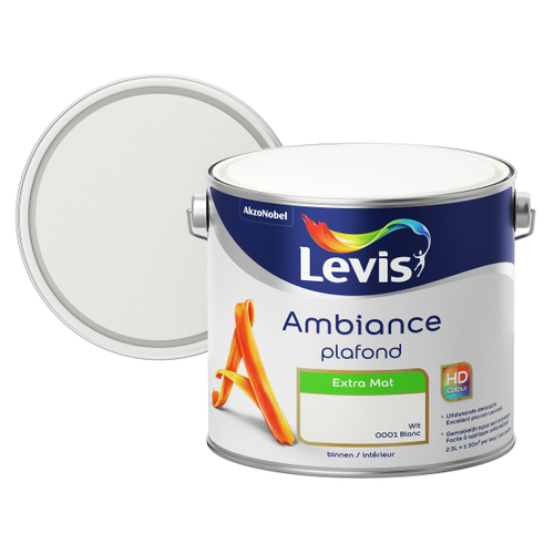 Levis muurverf Ambiance Plafond wit extra mat 2,5L