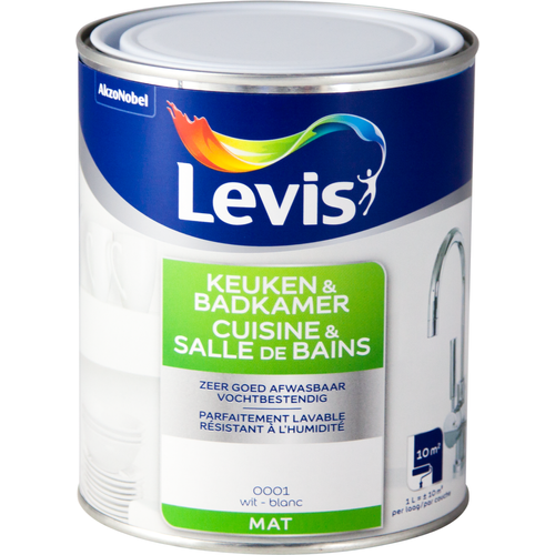 Levis muurverf Keuken & Badkamer wit mat 1L