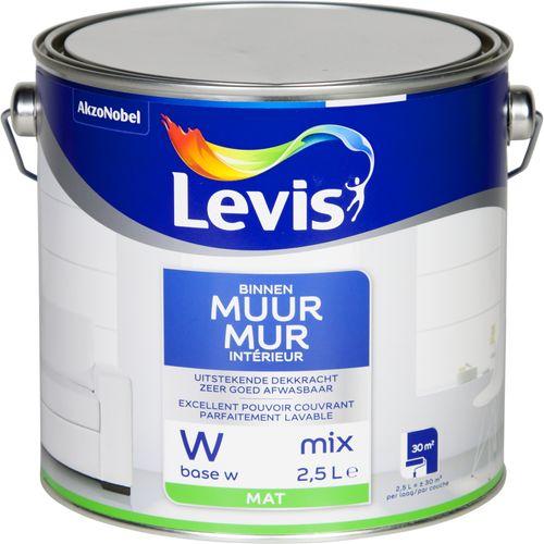 Levis muurverf Muur binnen base W wit mat 2,5L