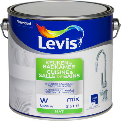 Levis muurverf Keuken & Badkamer base W mat 2,5L