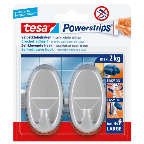 Crochet autoadhésif oval Tesa Powerstrips chrome 2kg - 2 pièces
