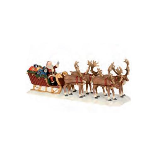 Luville beeldje Kerstman rendeir slee 21 x 8 x 6,5 cm