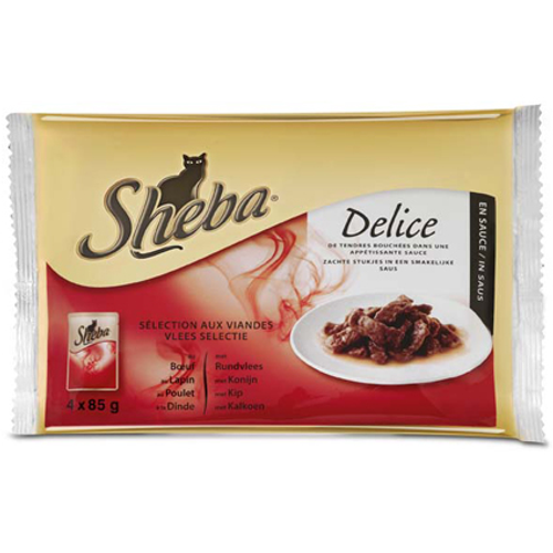 Sheba Delice pouch 4-pack vlees selectie 85 gram