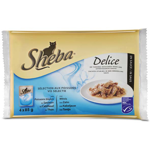 Sheba Delice pouch 4-pack vis selectie 85 gram