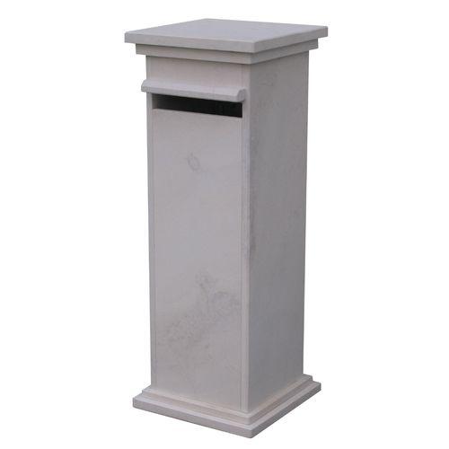 Boite aux lettres sur pied VASP 'Sevilla white' pierre blanche de France