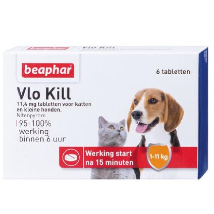 Beaphar vlokill+ hond/kat tot 11kg 6 tablets