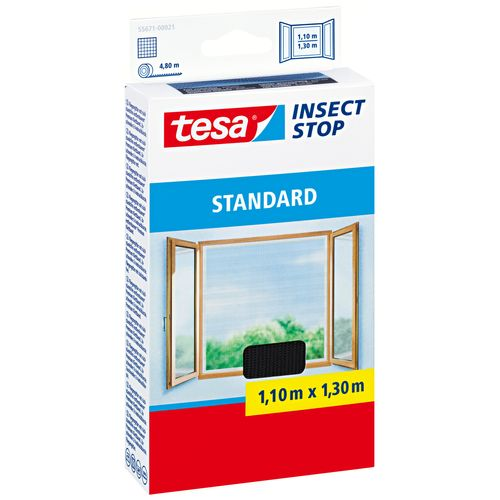 Moustiquaire pour fenêtre Tesa 'Standard' noir 1,3 x 1,1 m