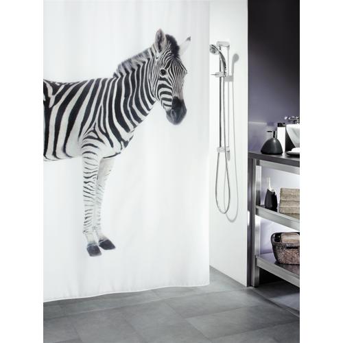 Spirella douchegordijn Zebra zwart 180cm