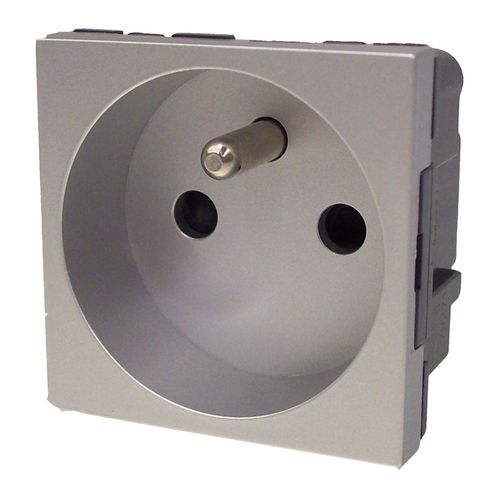 LeGrand DLP stopcontact Mosaic 2-polig +A aluminium
