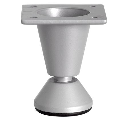 Pied de meuble métal rond argenté 5 cm